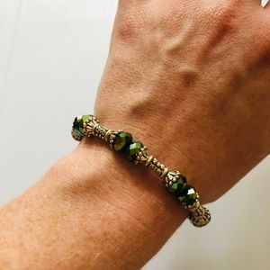 Green Swarovski Stone & 925 Silver Bracelet